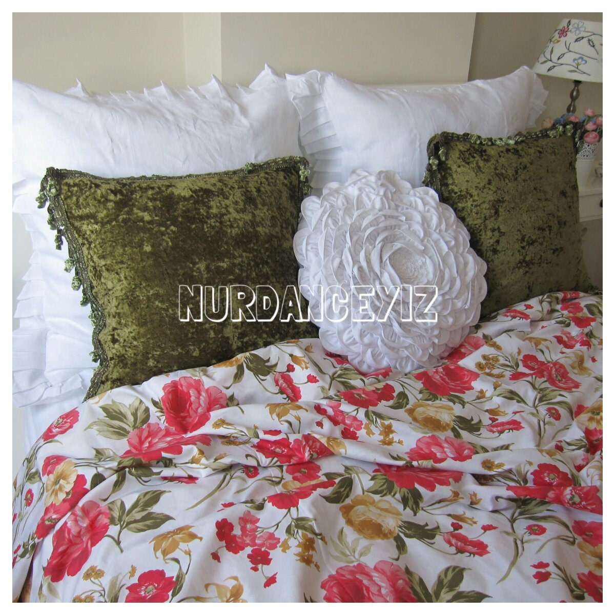 Red Cabbage Rose Flower Bedding Roses Floral Print Twin Xl