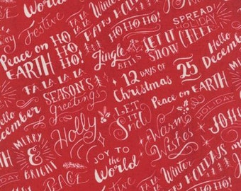 Juniper Berry Poinsettia Red Good Cheer Words by BasicGrey  for Moda