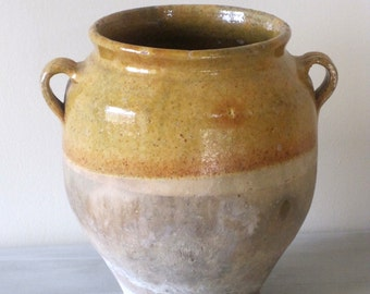 Antique French Glazed Terracotta Confit Pot Ochre Glaze & Raw Terracotta Authentic French Country Style