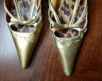 Sexy Vintage Dolce & Gabbana Gold Sixties-Style Pointy Kitten Heels 38.5 (8.5?) Made in Italy