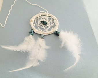 White Dream Catcher, Wedding Gift, Car Mirror Decor, Cotton, Turquoise, Feathers, Item No. De050B