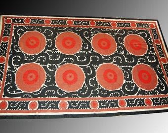 Uzbek Samarkand region cotton -silk handmade embroidery Wall Hanging Bed Cover Ethnic Suzani