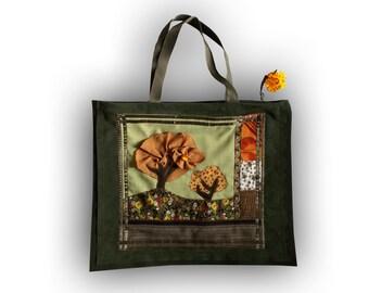 Green bag, autumn motives, appliqued nubuck, patchwork, bag for Her,  green accessory