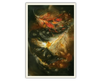 Fantasy art, fantasy painting, giclee, fire feather, Phoenix bird feather, rich colors, Fire bird, flame, gift for teens, quest, room decor