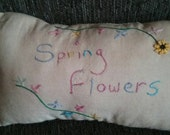 Hand Embroidered Pillow Tuck,  Primitive,  Spring Flowers, Vintage Strawberry Sheet Fabric, OFG,