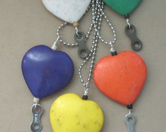 Colored Heart with Bike Chain Link Pendant