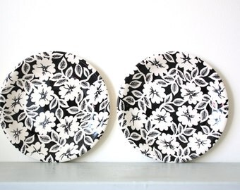 Vintage Johnson Brothers Side Plates in Black & White Floral Pattern