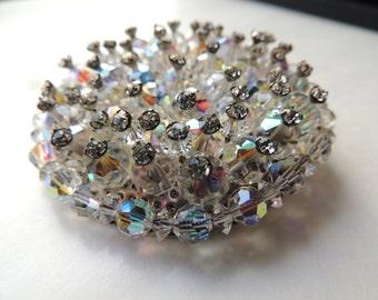 Crystal Aurora borealis and rhinestone circular brooch   VJSE