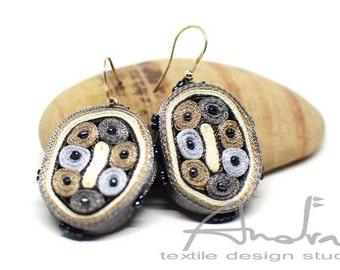 Dangle earrings white grey, earrings grey beige, fiber earrings - Textile jewelry OOAK for order