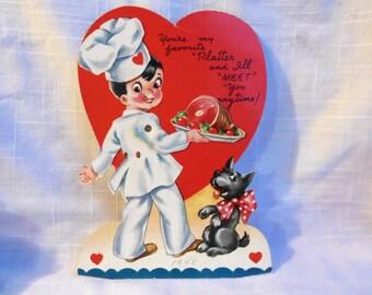 Vintage Valentine Chef Terrier Cooking 1948 Mechanical