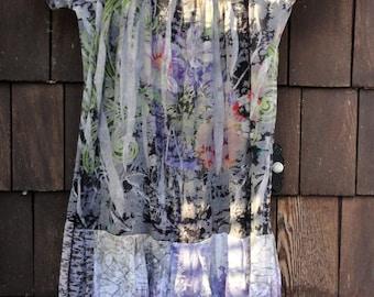 Shattered Florals Gypsy Hippy Boho T Shirt Dress Tattered Mosaic Sz M
