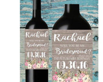 Bridesmaid Wine Label. Rustic flowers. Will you be my bridesmaid. Wine bottle labels. Ask Bridesmaid.