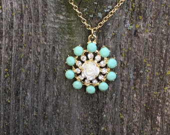 Gorgeous aqua and white rose necklace