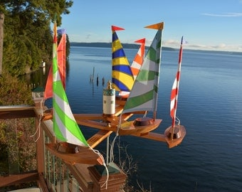 New (7) Sailboat Double Direction Whirligig