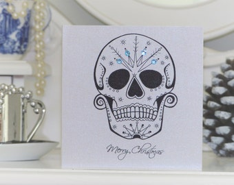 Frosted Sugar Skull Tattoo Alternative Christmas Card