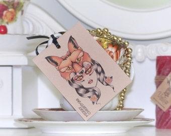 Woodland Goddess wearing a fox headdress tattoo set of 3 handmade gift tags