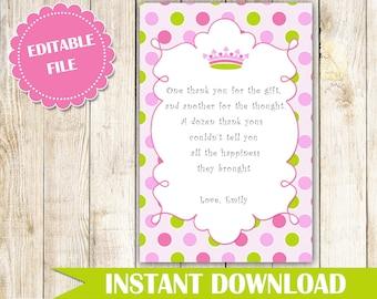 Princess Thank You Cards - Princess Thank You Note - Princess Baby Shower Thank You Card - Princess Birthday Thank You Card - Editable Card