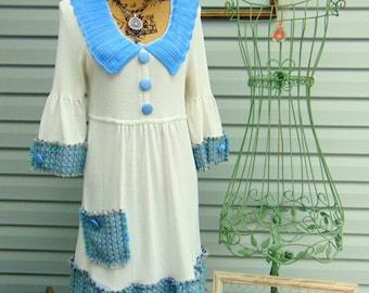 School Girl Refashioned Mini Dress Tunic Top Sweater Ivory Light Blue Hand Embellished SIZE MEDIUM