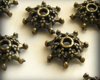 Antique Brass Bead Caps 9mm (18 pcs) Z-N1030-AB