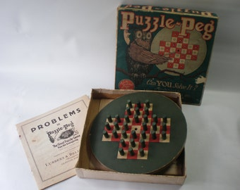 Vintage Wooden Puzzle Peg Game with Box and Instructions
