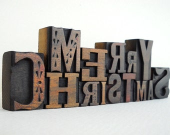 MERRY CHRISTMAS - 14 Vintage Letterpress Wood Type Alphabets Collection - LP33