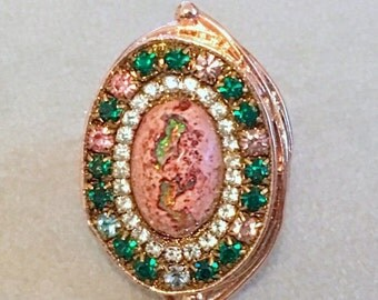 FALL SALE Mexican opal and austrian crystal ring