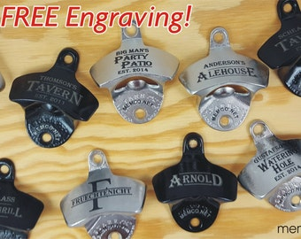 Set of 12 Personalized Bottle Opener for your Groomsmen with Capcatchers -Wall Bottle Opener