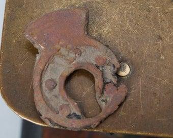 Antique small brass key hole escutcheon, gothic