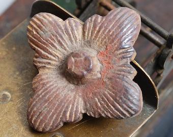 Antique cast brass plate, rosette, embellishment, floral decor