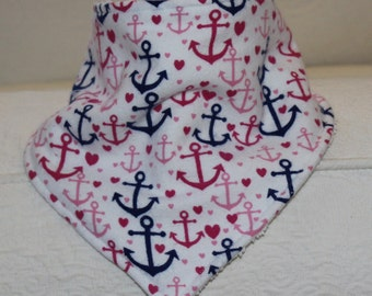 Bandana Bib Girl Drool Bib with a Navy and Pink Anchor Flannel Print and a White Terry Cloth Lining for a Teething Nautical Baby Girl
