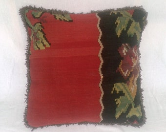 Kilim Pillow Cover Wool Vintage Turkish 24 x 24