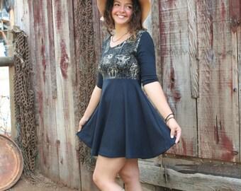 Mushroom Screen Print Skater Circle Skirt Dress Soy Organic Cotton Spandex Black USA Made New