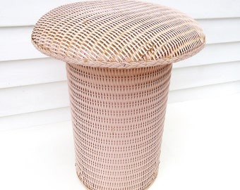 Vintage Wicker Stool, Vanity Bench, Occasional Table, Mushroom Stool – Pink Wicker Chair
