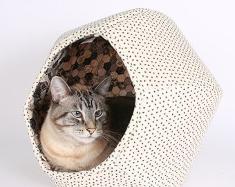 Cat house made in spooky Halloween spider fabric - the Cat Ball kitty bed is pet furniture made in USA