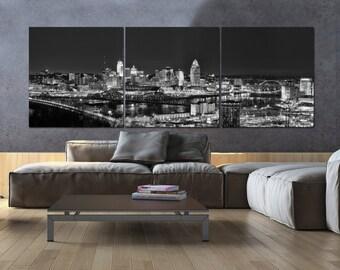 Cincinnati Skyline on Canvas, B&W Large Wall Art, Cincinnati Print, Cincinnati art, Cincinnati Photo, Cincinnati Panoramic, River