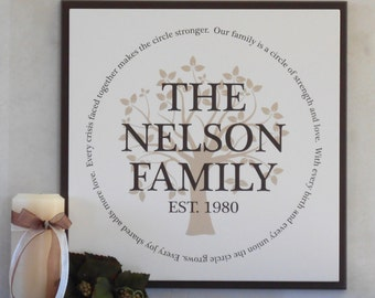 Our Family is a Circle - Personalized Name & Established Date Sign - Family Tree - Wedding, Anniversary, Engagement Gift - Painted Brown