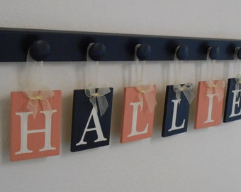 Coral and Navy Baby Nursery Wall Letters Personalized Set with Wooden Plaque Letters Coral and Navy, Pegs Hooks in Navy Blue