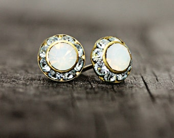 Dainty Swarovski Opal Rhinestone Stud Earrings