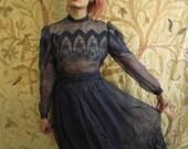 Vintage Sheer Victorian Lace Silk Dress Blouse Skirt beautiful medium