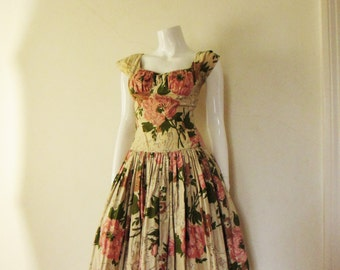 50's Vintage Rose Print Shelf Bust Party Dress sm.