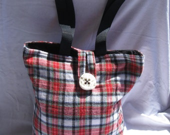 Lunch Bag, Adult Lunch Tote, Red Plaid Lunchbag, Insulated Lunch Bag, Eco Friendly Fabric Tote, Thermal Tote Bag