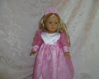 18 Inch Doll Glittering Pink Princess Gown with Jeweled Crown And Slippers