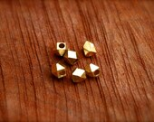 Brass Beads/ Faceted rectangle beads 4mm/ spacer beads/ diamond cut spacer beads/ art supplies