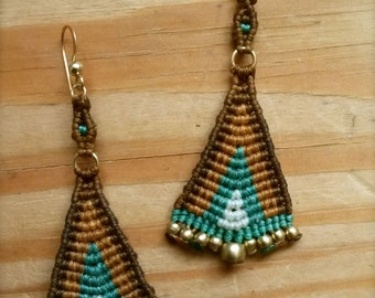micro macrame large tribal triangle fan earrings/ turquiose and brown fan earrings, earth and sky
