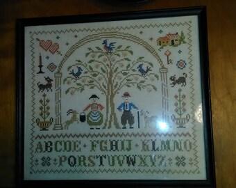 VIntage Framed Finished Pennsylvania Dutch Folk Art Prim ABC's Sampler Needlepoint