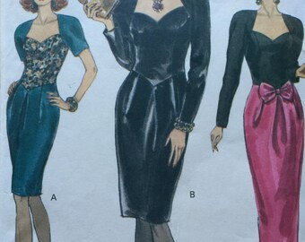 Evening Dress Vogue Pattern Dress Mid knee or Evening length Pattern No. 7944 Sizes 6 8 10 Vogue pattern Woman