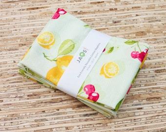 Large Cloth Napkins - Set of 4 - (N2538) - Lemon and Cherries Light Green Modern Reusable Fabric Napkins
