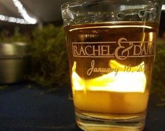144 Personalized 1.5oz Wedding Favor Glass Shot Glasses Custom Wedding Favors