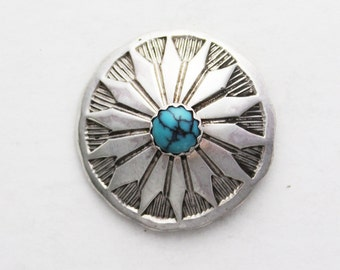 One Inch Stamped Sterling Silver Button with Turquoise
