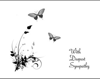 Black and White Butterflies Sympathy Card